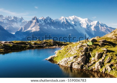 Views of the Mont Blanc glacier with Lac Blanc. Perfect and gorgeous scene. Location place Nature Reserve Aiguilles Rouges, Graian Alps, France, Europe. Vintage effect. Instagram filter. Beauty world.