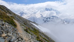 Views of the Mount Rainier glacier from the top of the rocky Mount Fremont trail.