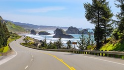 Views of the perfect coastal road trip along the Pacific Coast Highway in Southern Oregon.
