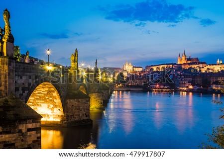 Views of the River Vltava, Charles Bridge and the Castle beyond. Prague Czech Republic Europe