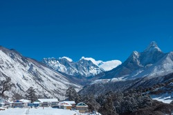views of the snow-capped khumbu valley with the great mountains ama dablam, mt.everest and nuptse in the background from the Tengboche monastery.