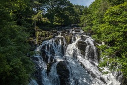 Views of the Swallow Falls, Betws-Y-Coed, North Wales. August 2020