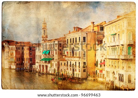 views of venice in vintage style