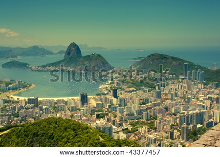 views Rio de Janeiro and Sugarloaf Mountain from Corcovado - stock photo