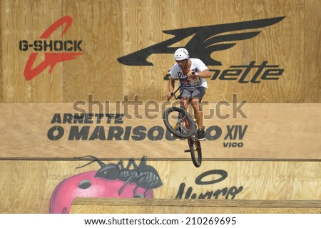 VIGO (PONTEVEDRA), SPAIN - AUGUST 9, 2014: The urban culture festival and extreme sports O Marisquino celebrate its 14th edition tests BMX and Dirty with large crowds and good sportmanship level.