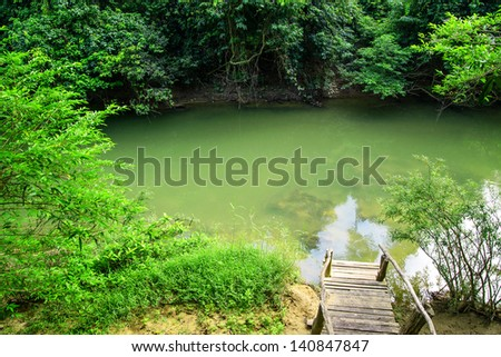 Viiew of Wooden stairs and streams.