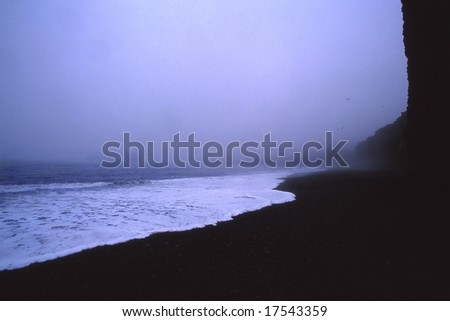 Vik seashore, white fluids on black earth, south of Iceland - stock photo
