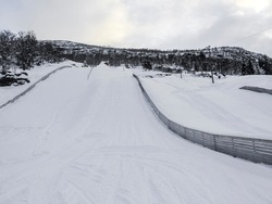 Vik Skisenter in Røysane, Norway. Wonderful view of the slopes in winter.
