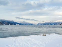 Vik Skisenter in Røysane, Norway. Wonderful view of the Sognefjord in winter.