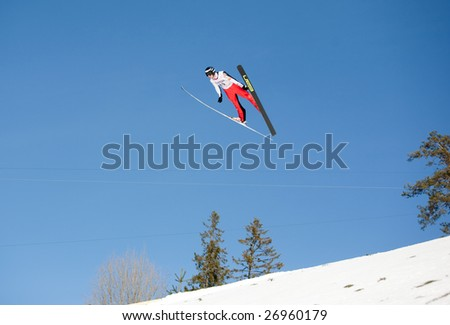 VIKERSUND, NORWAY - MARCH 15: Robert Kranjec of Slovania competes in the FIS World Cup Ski Jumping Competition on March 15, 2009 in Norway.