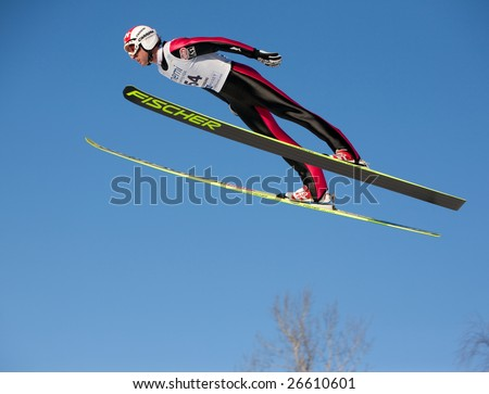 VIKERSUND, NORWAY - MARCH 13:  STECHER Mario of Austria in the FIS World Cup Nordic Combined on March 13, 2009 in Norway.