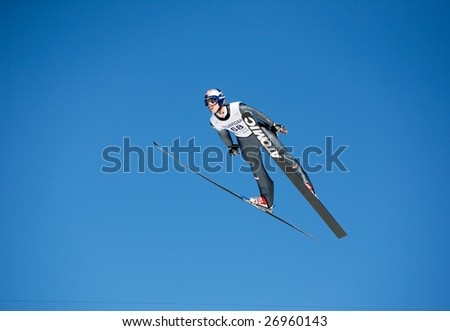 VIKERSUND, NORWAY - MARCH 15: Thomas Morgenstern of Austria competes in the FIS World Cup Ski Jumping Competition on March 15, 2009 in Norway.