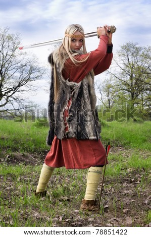 Viking girl warrior with sword