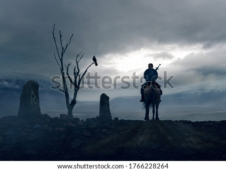 Viking knight traveling the Odin path signed by stones runes and a dead tree with a crow  - concept art - 3D rendering Foto stock ©