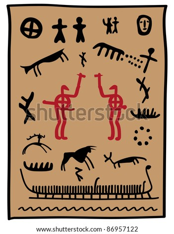 viking painting with animals