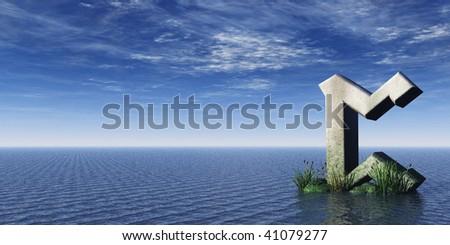 viking rune rock at the ocean - 3d illustration