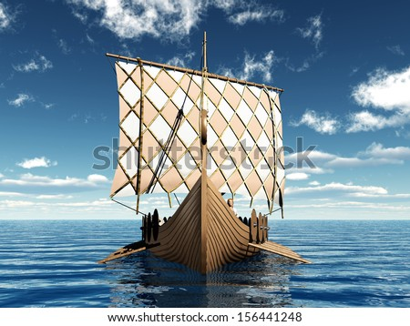 Viking Ship Computer generated 3D illustration