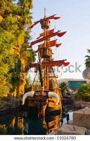 Viking Ship in Las Vegas at sunset