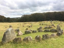 Viking stone ship burial site at Lindholm Høje, Denmark