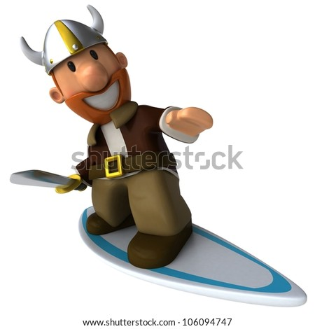 Viking surfing - stock photo