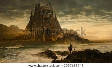 Viking warrior woman facing a skull shaped dungeon - 3D illustration