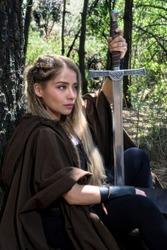 Viking woman sword warrior cosplay blond beauty celtic