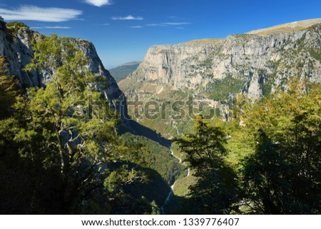 Vikos Gorge, a gorge in the Pindus Mountains of northern Greece, lying on the southern slopes of Mount Tymfi, one of the deepest gorges in the world. Zagori region, Greece. #1339776407