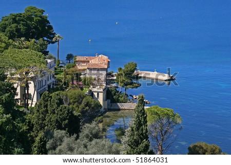 Villa and blue sea in Saint Jean Cap Ferrat, France #51864031