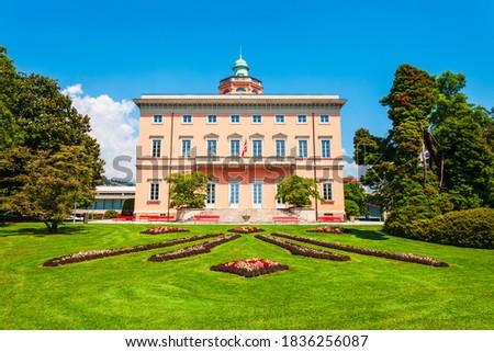 Villa Ciani in Parco Ciani public park in Lugano city in canton of Ticino, Switzerland Zdjęcia stock ©
