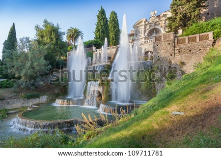 Villa d`Este fountain and garden , Tivoli, Italy.Rome