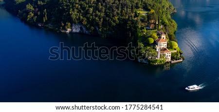 Villa del Balbianello (1787), Lenno, Lake Como, Italy, Panoramic Aerial View Foto stock ©