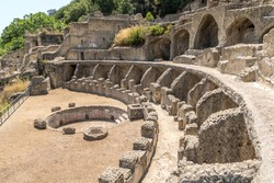 Villa dell'ambulatio and thermae in the Archaeological Complex of ancient Roman baths of Baia. Campi Flegrei regional park, Bacoli, Naples, Campania, Italy