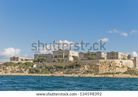 Villa Giovanni Bighi in Kalkara, overlooking the entrance of the Grand Harbour of Valletta, Malta