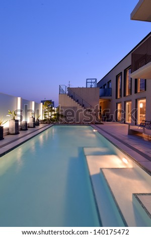 Villa with swimming pool night view-2