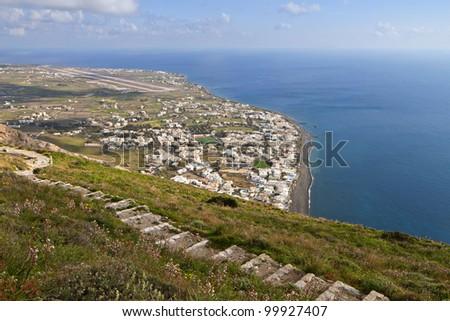 Village and beach of Kamari at Santorini island in the cyclades, Greece