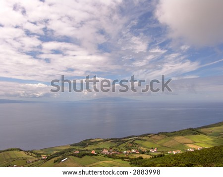 village at the coast at azores island of faial