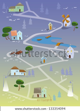 Village by night - stock photo
