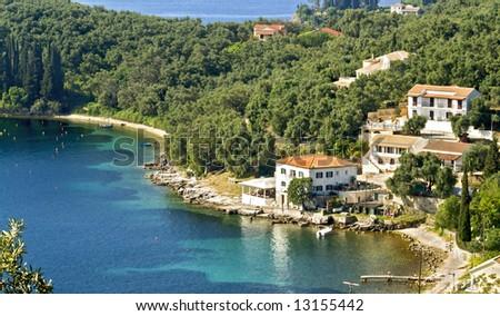 Village by the sea at Corfu island, Greece