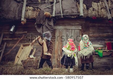 village children gather...