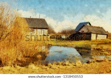 Village house and nature motifs. Beauty spring landscape. Oil painting original wall art print in large size for interior design decor. Impressionism modern pictorial. Contemporary drawing on canvas.