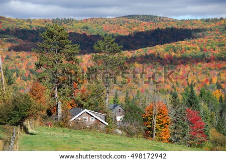 village house in autumn mountain forest with brilliant color #498172942