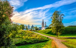 Village houses landscape panorama in Russia