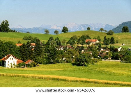 Village houses with red roofs, green trees in the middle of the summer pastures in the Alps