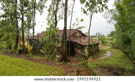 Village hut in the farms of India