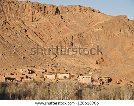 Village in Atlas mountains , Morocco. There are a lot of villages around Atlas.