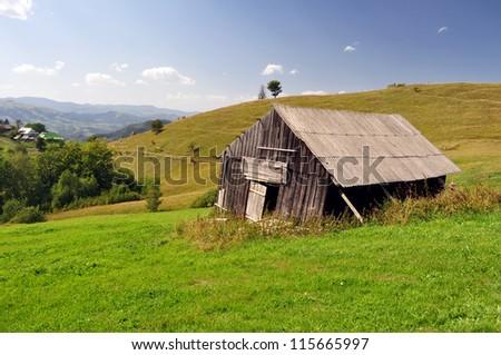 village in Carpathians mountains - stock photo