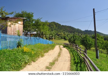 village in Carpathians mountains