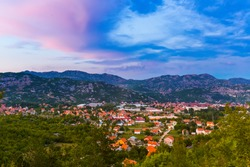 Village in Lovcen Mountains National park at sunset in Montenegro