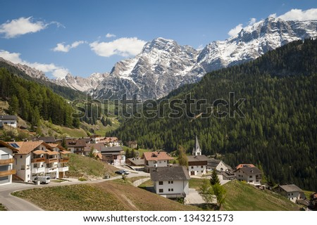 Village in the Dolomite mountains, Tyrolean region of northern Italy