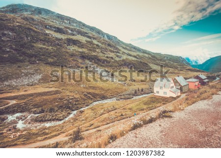 Village in the mountains of Scandinavia vintage style